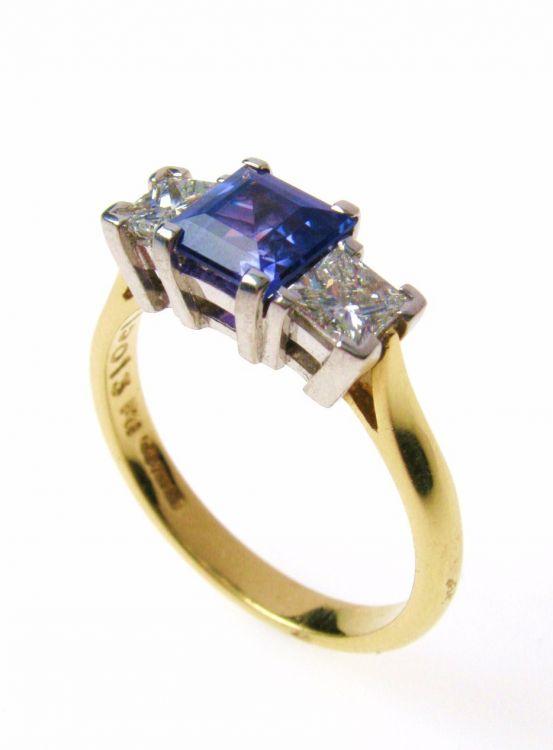 Tanzanite Amp Diamond Three Stone Ring Austen Jewellers