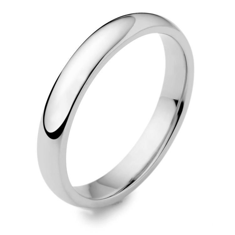 18ct white gold 3mm wedding band ring austen jewellers