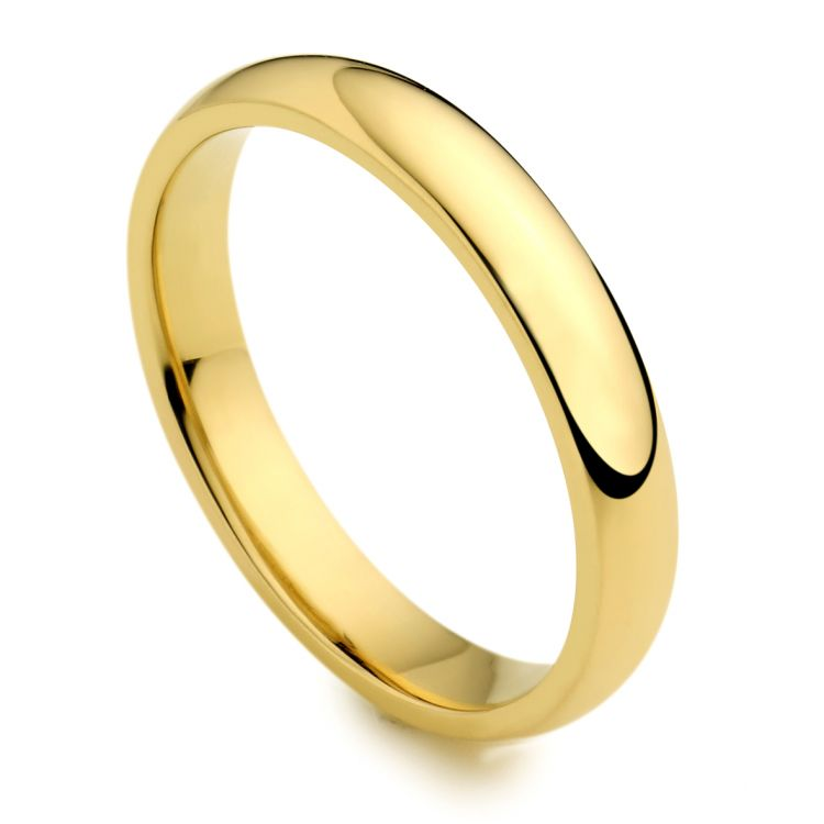 18ct Yellow Gold 3mm Wedding Band Ring Austen Jewellers