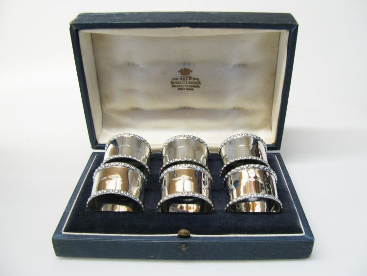 pre owned silver napkin ring set austen jewellers