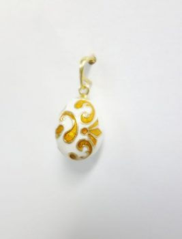 white-orange-enamel-egg-pendant