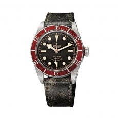 Black bay red leather strap
