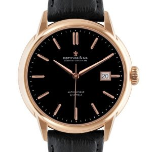 1925 - Gents Rose Gold PVD Plated Stainless Steel Leather Strap Watch