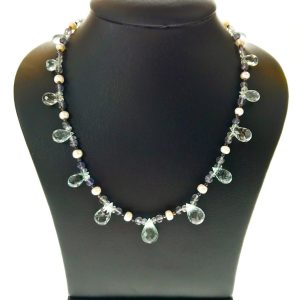 Aquamarine, Iolite and Silver Bead Necklet