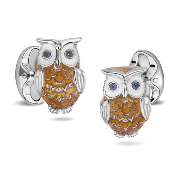 Deakin & Francis Silver Enamel Owl Cufflinks With Sapphire Eyes