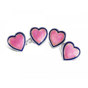 Deakin & Francis Silver Enamel Heart Cufflinks