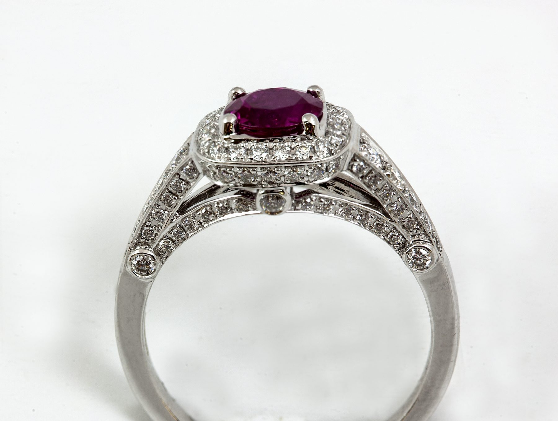 18ct White Gold Ruby Amp Pave Diamond Ring Austen Jewellers