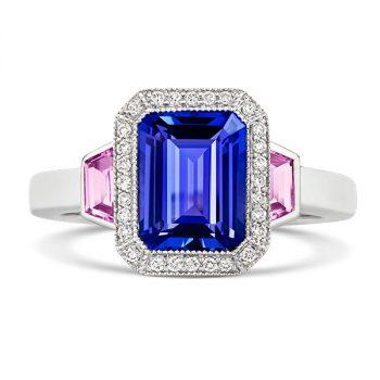 Tivon Tanzanite,diamonds and pink sapphire