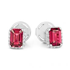 pink tourmaline and diamond earrings