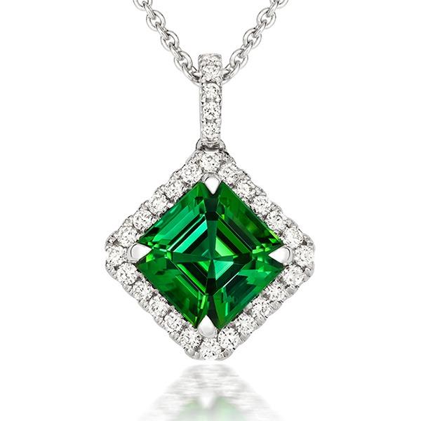 Tourmaline and diamond pendant