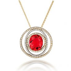 Passion Pink Tourmaline and Diamond Necklace