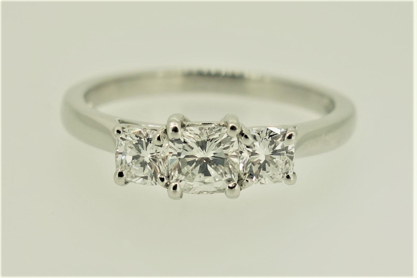 Platinum 3 Stone Cushion Cut Diamond Ring
