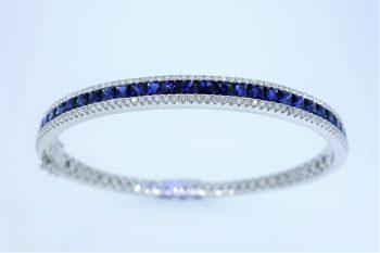 18ct White Gold Bangle Set With Sapphires & Diamonds