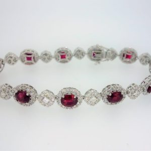 18ct White Gold Ruby & Diamond Bracelet