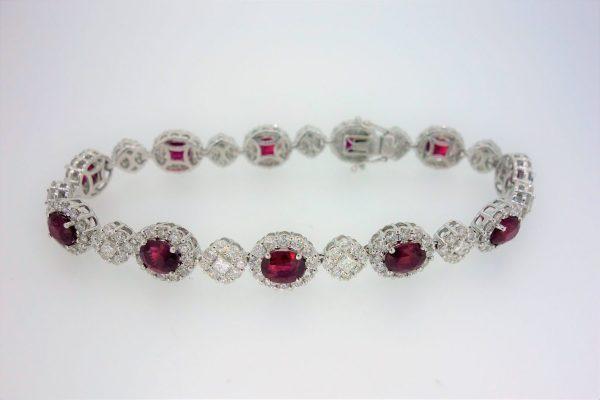 18ct White Gold Ruby & Diamond Bracelet