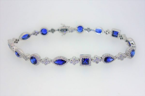 18ct White Gold Sapphire and Diamond Bracelet