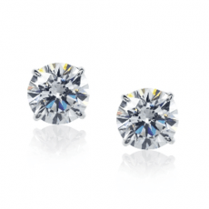 Carat round stone earrings