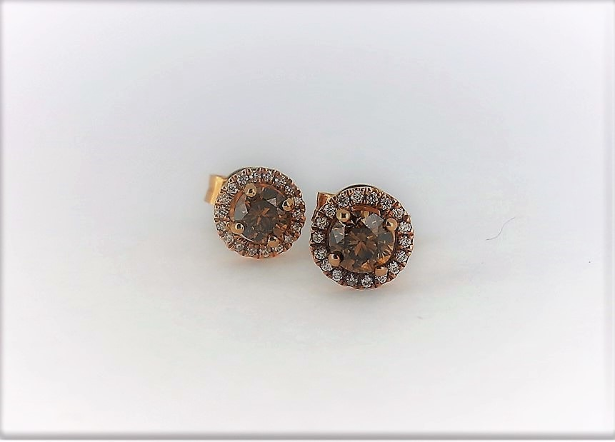 Chocolate Diamonds And Rose Gold Earrings Austen Jewellers