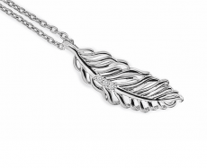 White Ice Feather Necklace