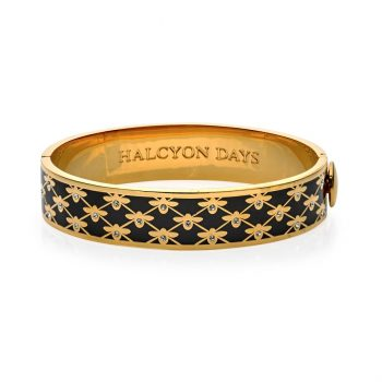 halcyon bee sparkle trellis hinged bangle black and gold