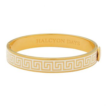 halcyon days greek key bangle cream and gold