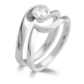 Diamond Ring with Matching Wedding Band