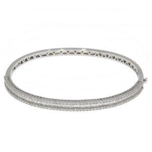 18ct Diamond Baguette and Brilliant Cut Bangle