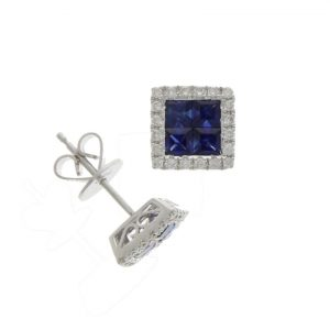 18ct Sapphire & Diamond Cushion Cluster Stud