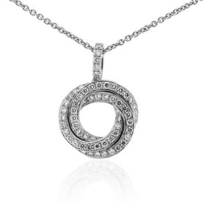 18ct White Gold Diamond Russian Circle Pendant