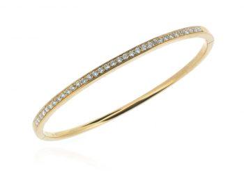 18ct rose gold diamond bangle
