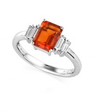 Fire opal with diamonds