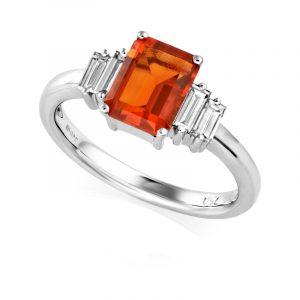 Fire opal with diamonds