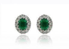 18ct WG Emerald & Diamond Studs