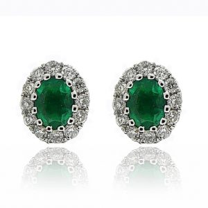 18ct WG Emerald & Diamond Studs