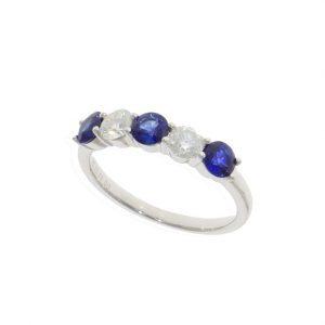 18ct sapphire & Diamond claw set ring