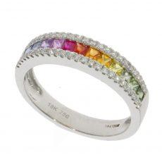 multi sapphire & diamond ring