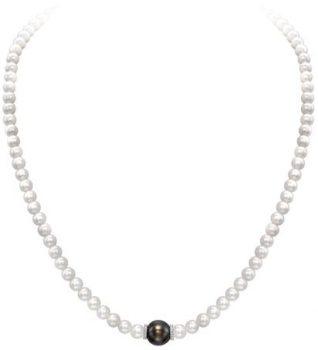18ct WG Diamond & Tahitian Pearl Necklace