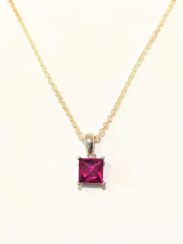 Sterling Silver Square Rhodalite Necklace